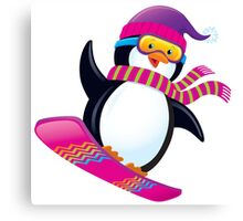 Cute Penguin Snowboarding Canvas Print