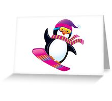 Cute Penguin Snowboarding Greeting Card