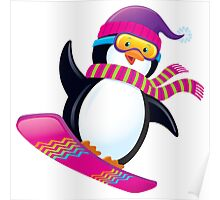 Cute Penguin Snowboarding Poster