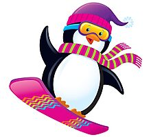 Cute Penguin Snowboarding Photographic Print
