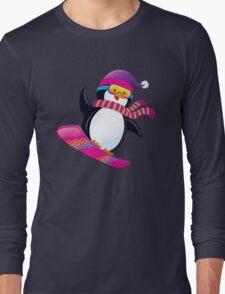 Cute Penguin Snowboarding Long Sleeve T-Shirt
