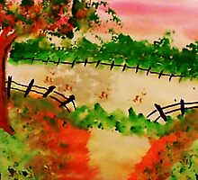 Broken Fence ad Open Pasture, aatercolor by Anna  Lewis