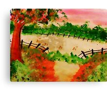 Broken Fence ad Open Pasture, aatercolor Canvas Print