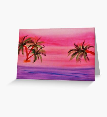 Beautiful red sunset, violet sea, watercoor Greeting Card