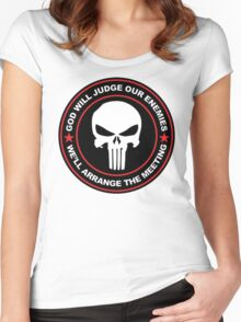 god will judge our enemies we'll arrange the meeting - red Women's Fitted Scoop T-Shirt