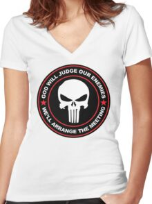 god will judge our enemies we'll arrange the meeting - red Women's Fitted V-Neck T-Shirt