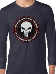 god will judge our enemies we'll arrange the meeting - red Long Sleeve T-Shirt