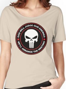 god will judge our enemies we'll arrange the meeting - red Women's Relaxed Fit T-Shirt
