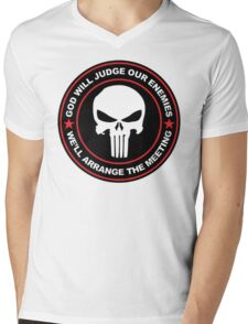 god will judge our enemies we'll arrange the meeting - red Mens V-Neck T-Shirt