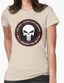god will judge our enemies we'll arrange the meeting - red Womens Fitted T-Shirt