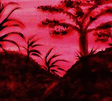 Africa SERIES< TREE AND FOILIAGE ON HILLS<watercolor by Anna  Lewis