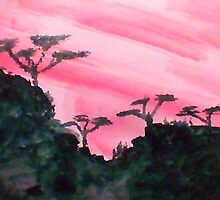 Africa Series, hills with trees in beautiful pink,red sunset, watercolor by Anna  Lewis