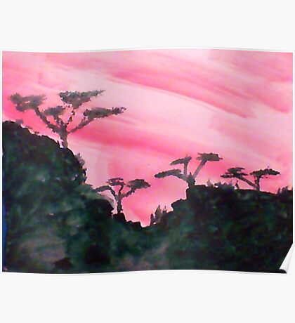 Africa Series, hills with trees in beautiful pink,red sunset, watercolor Poster