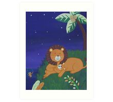 Painted Lion with Cub (Night Scene) Art Print