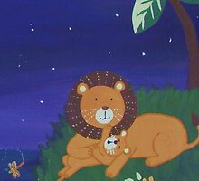 Painted Lion with Cub (Night Scene) by qarrie