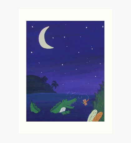 Alligator Chasing Firefly (Jungle Nursery) Art Print