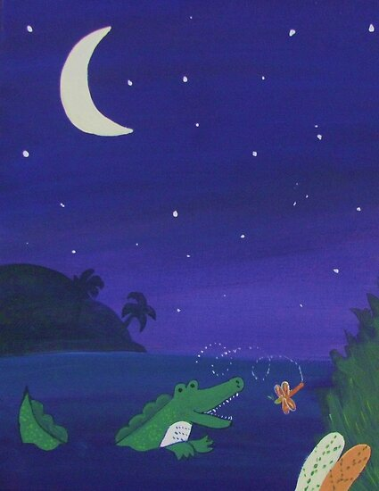 Alligator Chasing Firefly (Jungle Nursery) by qarrie