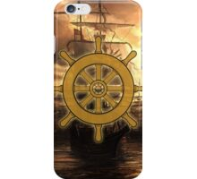 Vintage Ships Wheel Sea On The Sunset Iphone Case iPhone Case/Skin