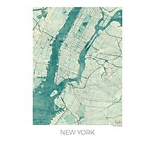 New York Map Blue Vintage Photographic Print