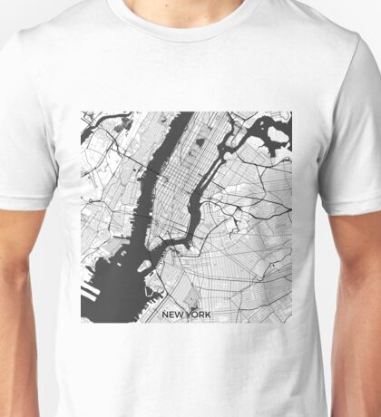 New York Map Gray Unisex T-Shirt