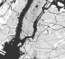 New York Map Gray by HubertRoguski