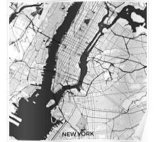 New York Map Gray Poster