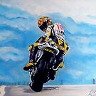 Rossi on motorbike by db artstudio by Deborah Boyle