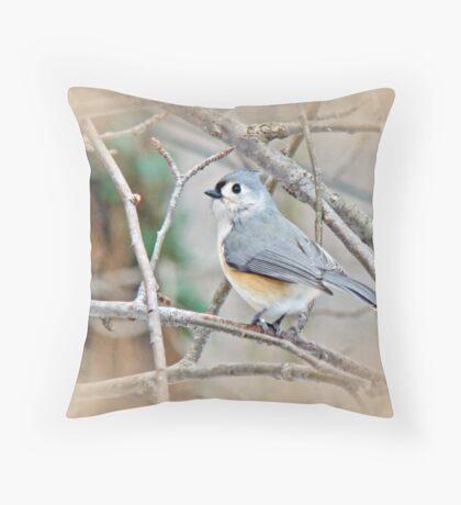 Tufted Titmouse (Baeolophus bicolor) Songbird Throw Pillow