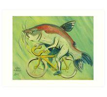 Catfish on a Bicycle Art Print