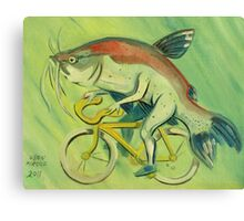Catfish on a Bicycle Canvas Print