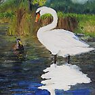 Swan on pond by P. Leslie Aldridge