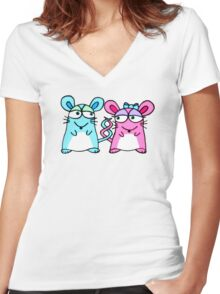 Mice In Love - A design by Perrin Women's Fitted V-Neck T-Shirt