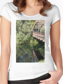 wooden bridge on the lake Women's Fitted Scoop T-Shirt