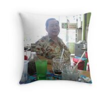 Happy Dad with drinks Throw Pillow