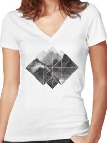 black and white mountain logo Women's Fitted V-Neck T-Shirt