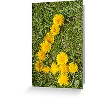 number four drawn with dandelion on the lawn Greeting Card