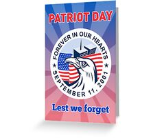 9-11 Patriots Day American Eagle Flag WTC  Greeting Card