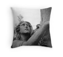 angel looking up (black and white) Throw Pillow