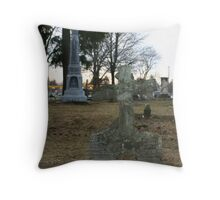 wooden cross of stone Throw Pillow