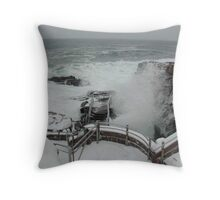Thunder Hole in a Snow Storm Throw Pillow
