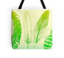 Lime Feathers Tote Bag