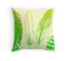 Lime Feathers Throw Pillow