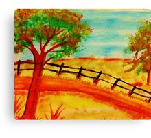 Old  Fence by the Road, watercolor Canvas Print