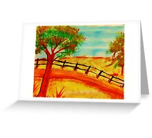 Old  Fence by the Road, watercolor Greeting Card
