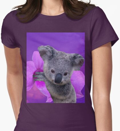 Koala and Orchids Womens Fitted T-Shirt