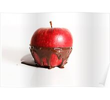 Apple with dark chocolate oozing out. Poster