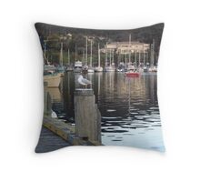 Lone Seagull at Oyster Cove Marina, Kettering Throw Pillow