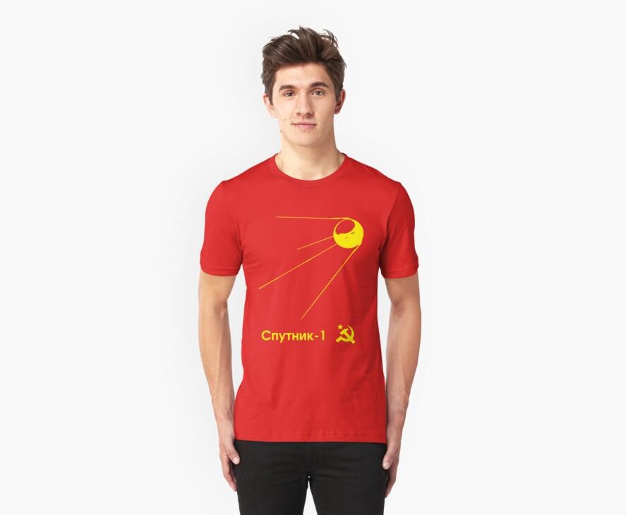 Sputnik-1 Satellite 1957 T-Shirt (dark) by Bonj