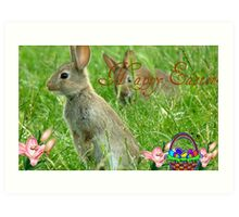 Happy Easter - Wild Bunnies - NZ Art Print