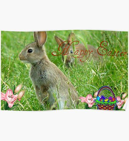 Happy Easter - Wild Bunnies - NZ Poster